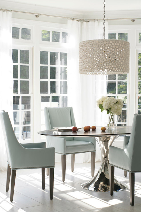 Meri drum chandelier transitional dining room heather garrett design - Dining room table chandeliers ...