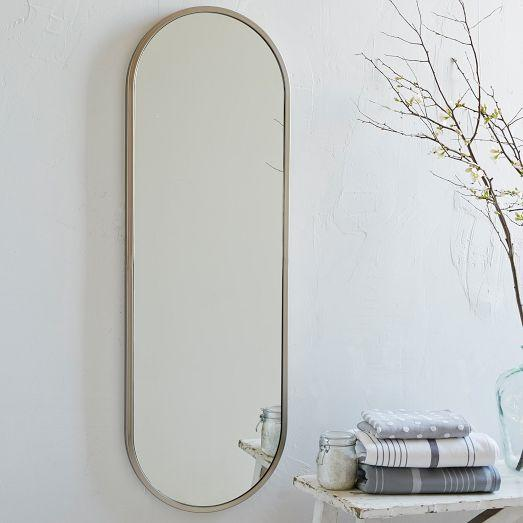 Metal silver oval floor mirror for Floor wall mirror