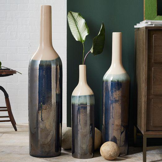 Luster Blue Floor Vases