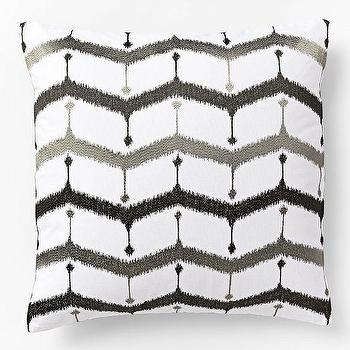 Embroidered Chevron Lattice Pillow Cover, Slate, west elm