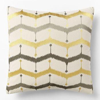 Embroidered Chevron Lattice Pillow Cover, Horseradish, west elm