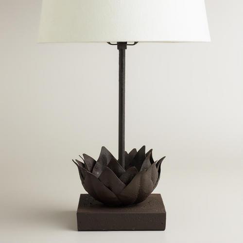 Metal Bronze Lotus Accent Lamp Base