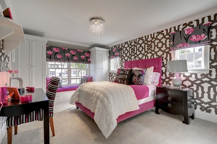 Pink and Gray bedroom Contemporary girls room Great