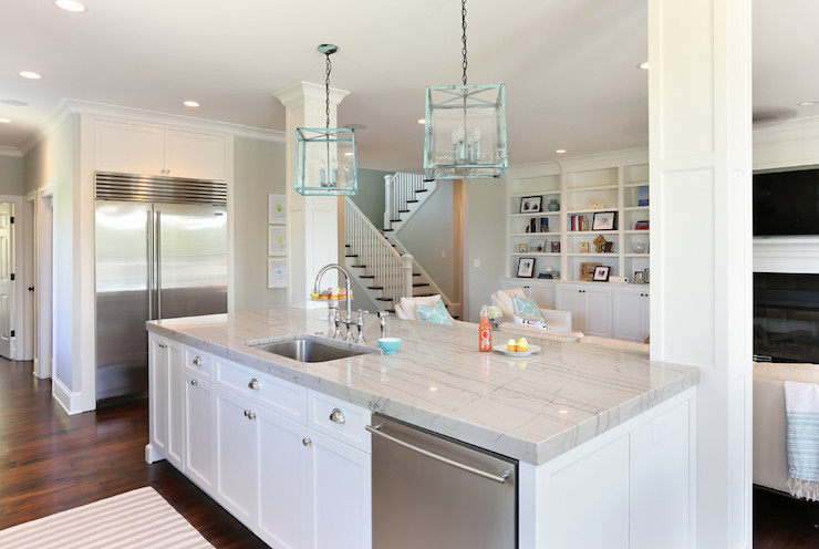 White quartzite counters transitional kitchen for Charleston home and design