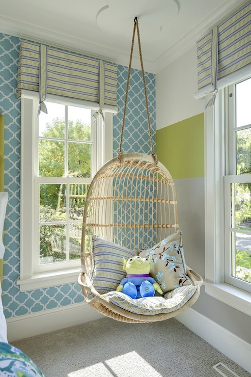 Adorable Kidu0027s Room With White And Blue Quatrefoil Wallpaper Alongside  White, Green And Gray Striped Walls With Windows Dressed In Blue And Green  Striped ...
