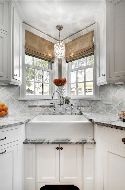 Corner sink transitional kitchen great neighborhood homes Kitchen design with corner sink
