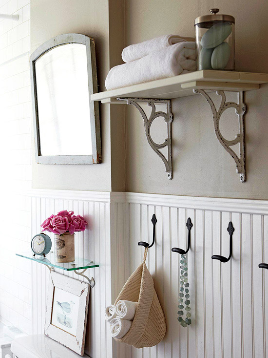 Vintage Glass Bathroom Shelf Design Ideas