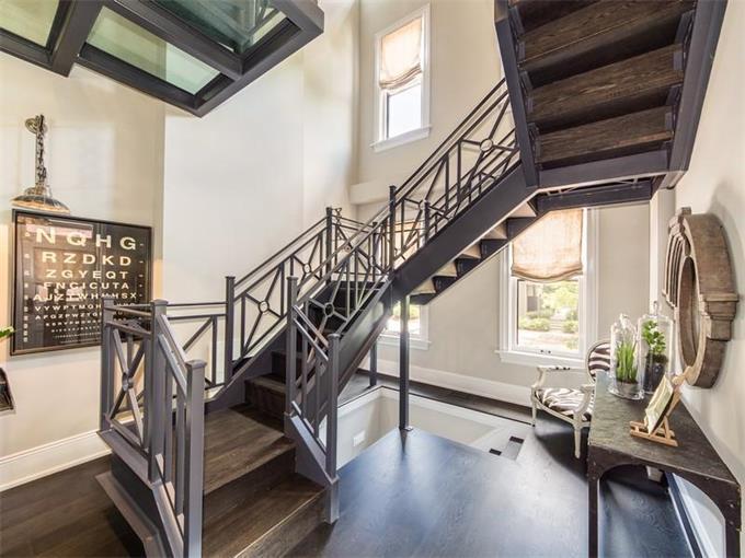 Gray Staircase Contemporary Entrance Foyer