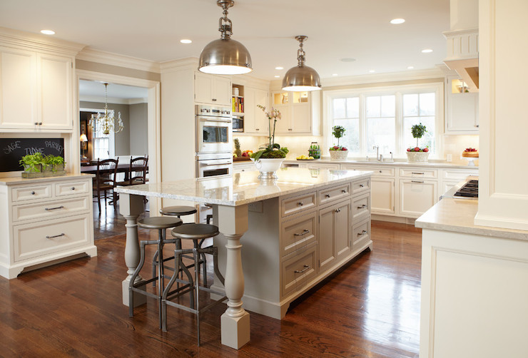 Gray Kitchen Island Legs Design Ideas