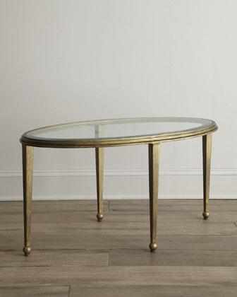 Montague Oval Glass Gold Coffee Table