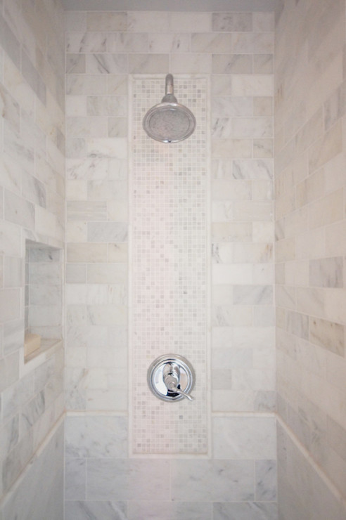 Decorative shower tiles transitional bathroom courtney blanton interiors - Decorative bathroom tiles ...