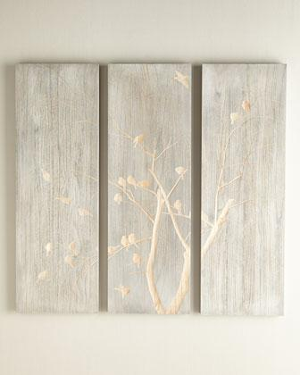 Three Piece Willow And Bird Silver And Gold Wall Panel