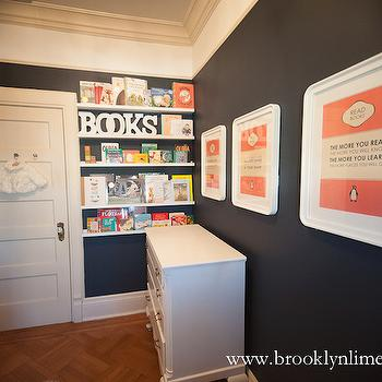 Nursery Bookshelves, Contemporary, nursery, Martha Stewart Wrought Iron, Brooklyn Limestone