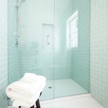 Blue Glass Shower Tile blue glass shower surround - contemporary - bathroom - bhg