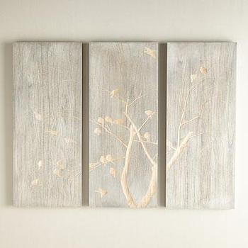 Bird And Branch Blue Triptych Panels