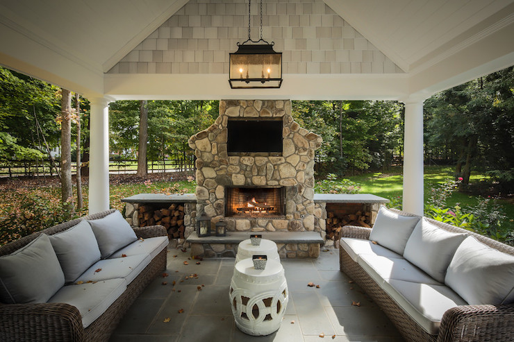 Covered patio traditional deck patio z plus architects for Back to back indoor outdoor fireplace