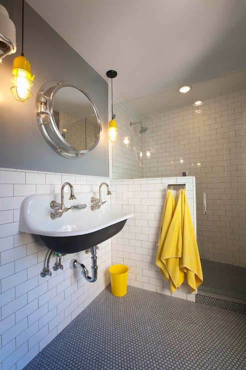 Yellow and gray bathroom cottage bathroom eric aust for Bathroom ideas yellow tile