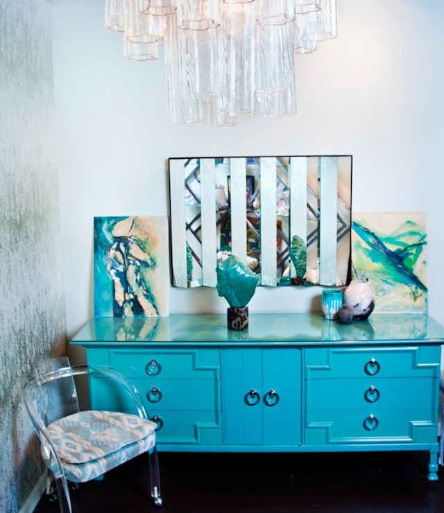 Best Turquoise Credenza - Hollywood Regency - den/library/office  LW95