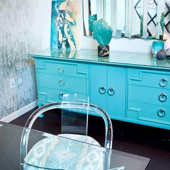 Turquoise Lacquer Cabinet, Hollywood Regency, den/library/office, House of Honey