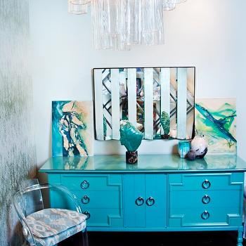 Turquoise Credenza, Hollywood Regency, den/library/office, House of Honey