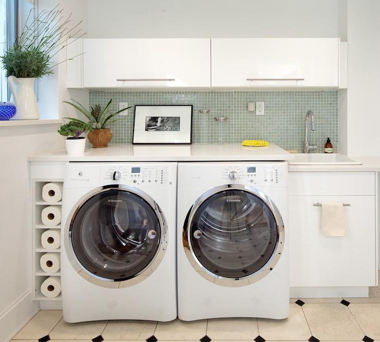Blizzard White Countertops - Contemporary - laundry room - Josephine ...