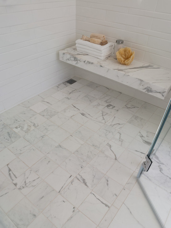 Floating Marble Shower Bench Over White And Grey Floor