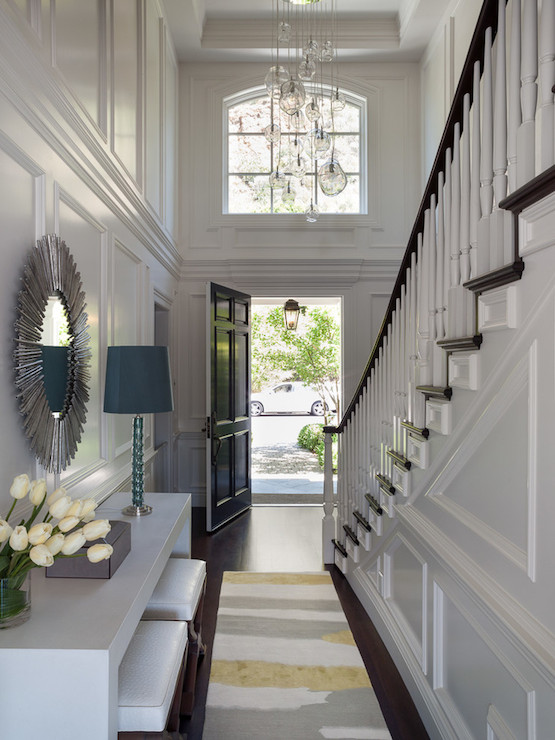 Paneled foyer design ideas for 2 story foyer chandelier