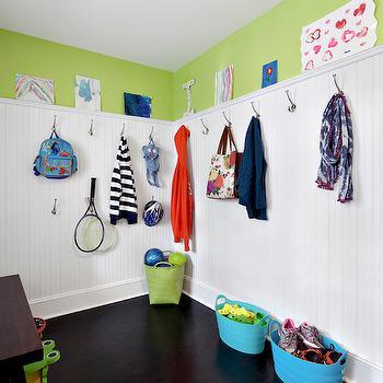 Mudroom Beadboard, Transitional, laundry room, Benjamin Moore Pear Green, Clean Design Partners