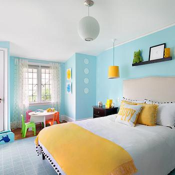 Yellow and Blue Bedroom, Contemporary, girl's room, Benjamin Moore Blue Seafoam, Clean Design Partners