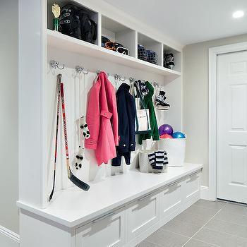 Mudroom lockers contemporary laundry room cameo homes for Basement mudroom ideas