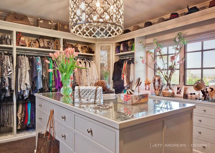 Quatrefoil Chandelier Contemporary Closet Jeff Andrews Design