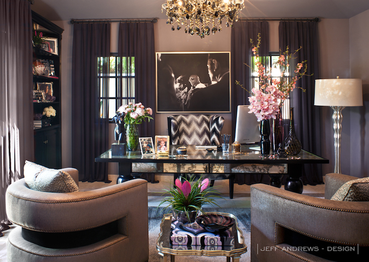 Khloe Kardashian Office Contemporary Den Library
