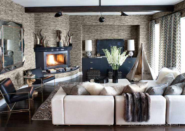 Corner fireplace contemporary living room jeff for Decoration maison kris jenner