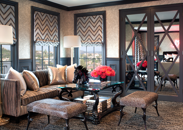 Mirrored doors contemporary living room jeff andrews Kourtney kardashian living room curtains