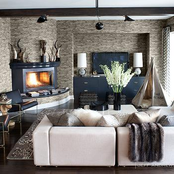 Corner fireplace contemporary living room jeff andrews - Kourtney kardashian kitchen chairs ...