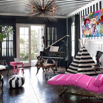 Black and White Striped Ceiling, Eclectic, den/library/office, Jeff Andrews Design