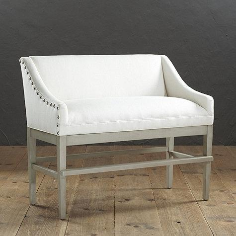 Marcello Counter Ivory Bench With Pewter Nails