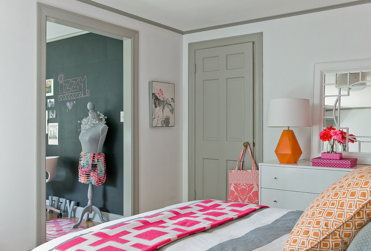 View Full Size Fun Girls Room With White Walls Accented Gray Doors Trim