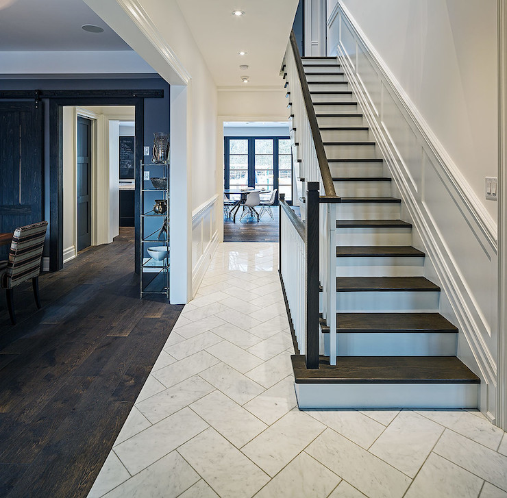 Herringbone floor contemporary entrance foyer peter for Entrance foyer tiles