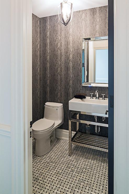St hubert shadow wallpaper with black beaded mirror for Bathroom wallpaper next