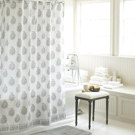 Ava Block Print Lavender And White Shower Curtain