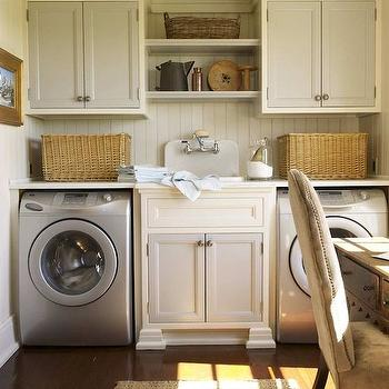 Two Tone Laundry Room Cabinets Design Ideas