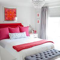 pink beige carpet and headboard skirt green beige walls bedroom design decor photos pictures ideas 738