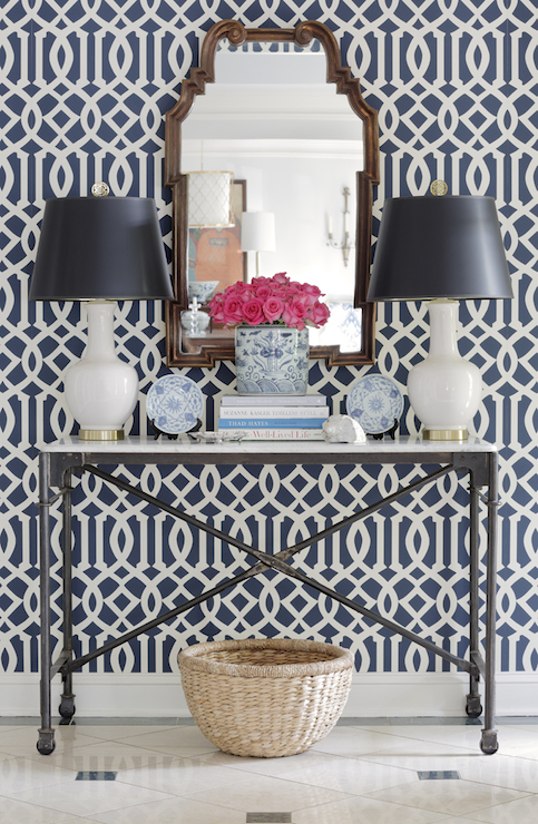 navy trellis wallpaper transitional entrance foyer jessica walmsley interiors. Black Bedroom Furniture Sets. Home Design Ideas