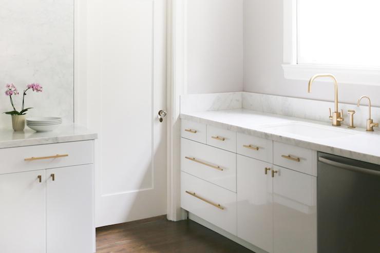 White Cabinets Brass Pulls Transitional Kitchen