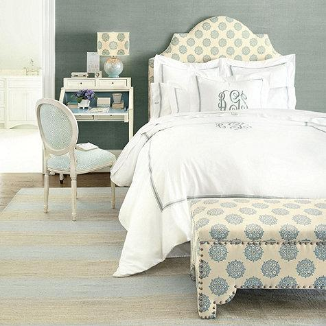 Amelie Blue And White Embroidered Duvet