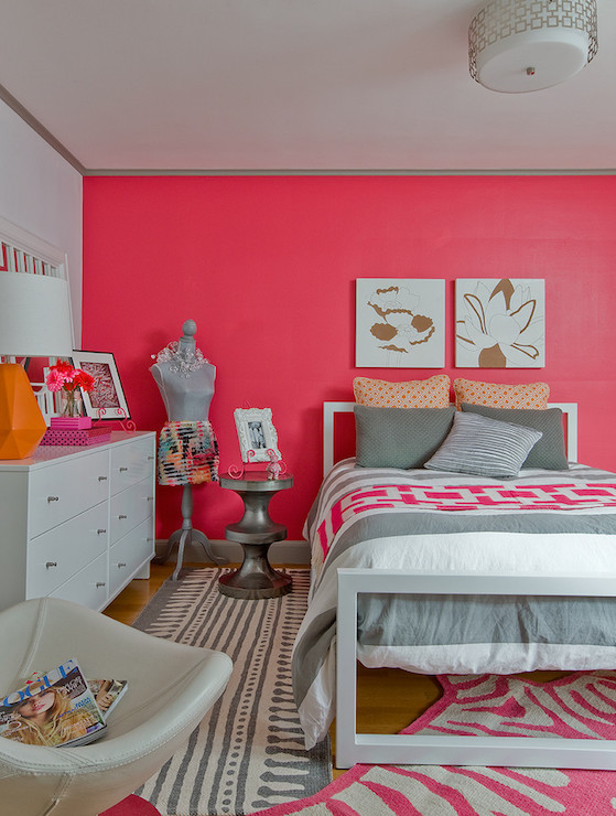 Pink Accent Wall pink accent wall - contemporary - girl's room - ana donohue interiors