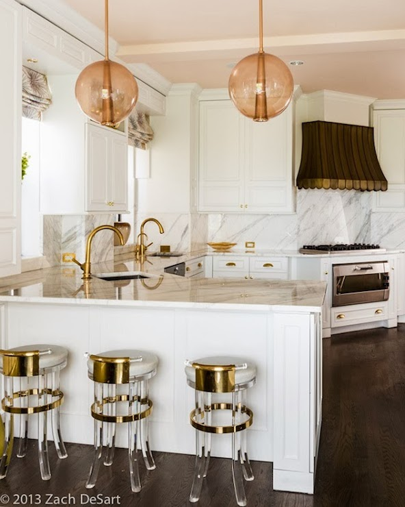 White Kitchen Cabinets With Brass Hardware Transitional