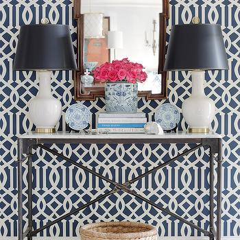 Navy Trellis Wallpaper, Transitional, entrance/foyer, Jessica Walmsley Interiors