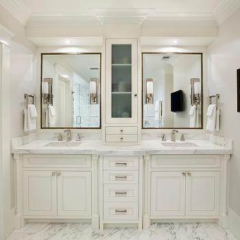 double vanity with center console traditional bathroom